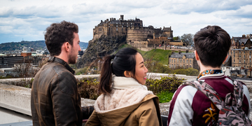 Students looking at the view of Edinburgh Castle