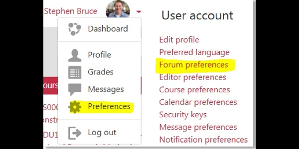 Screenshot showing how to update Moodle email preferences