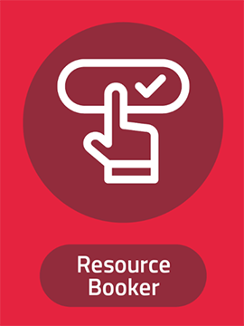 Resource booker logo - image of pointing finger and tick box