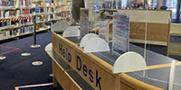 Craiglockhart Library helpdesk showing perspex screen